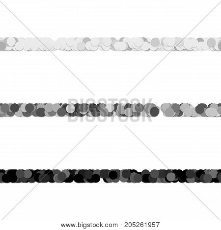 Repeatable abstract circle pattern text dividing line design set - vector graphic elements from grey dots