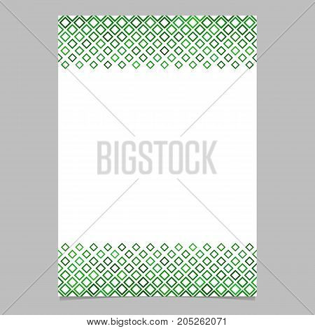 Green diagonal square pattern brochure border background template - vector graphic design from squares for presentations, flyers, cards