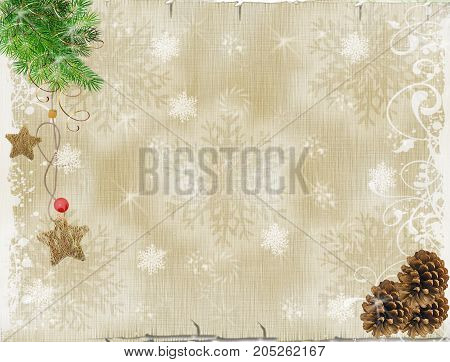 Christmas background. Pine branch pendant pine cones on wooden background.