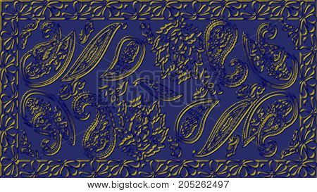 Abstract blue background with gold patterns raster image is computer graphics and can be used in the design of textiles in the printing industry in a variety of design projects