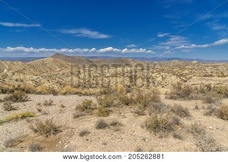 Andalusia desert. Desert landscape in the national park Cabo de Gata in Andalusia