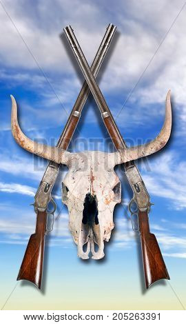 Antique cowboy lever action rifle and cow skulls .