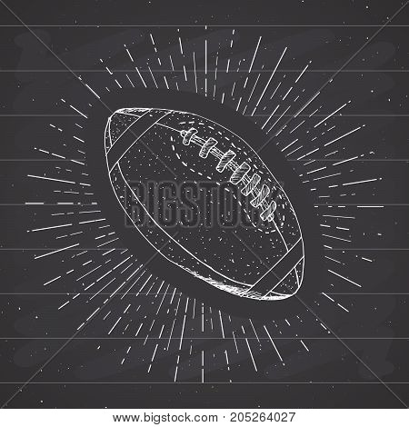 Football rugby ball vintage label Hand drawn sketch grunge textured retro badge typography design t-shirt print vector illustration