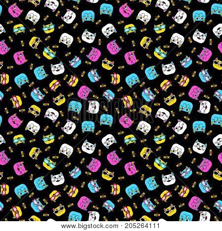Abstract Seamless Pattern For Girls, Boys, Clothes. Creative Vector Background With Cat, Glasses, Ey