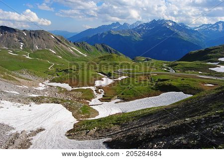 View over Grossglockner High Alpine Road in Austria.