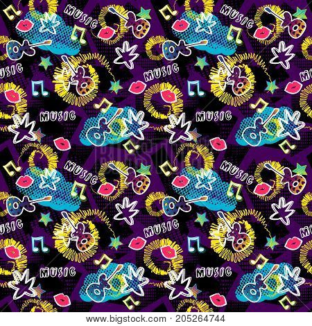Abstract seamless pattern for girls boys clothes. Creative vector background with dots guitar lips star.Funny wallpaper for textile and fabric. Fashion style. Colorful bright. Purple pink blue. Girls pattern. Music pattern. Cute girls pattern.