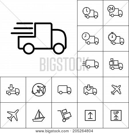 Thin Line Delivery Truck Icon On White Background, Transportatio