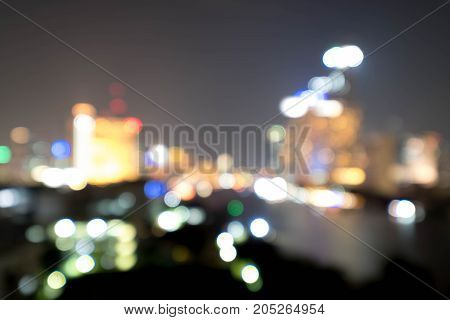 Abstract blurred Chao Phraya river in Bangkok city.