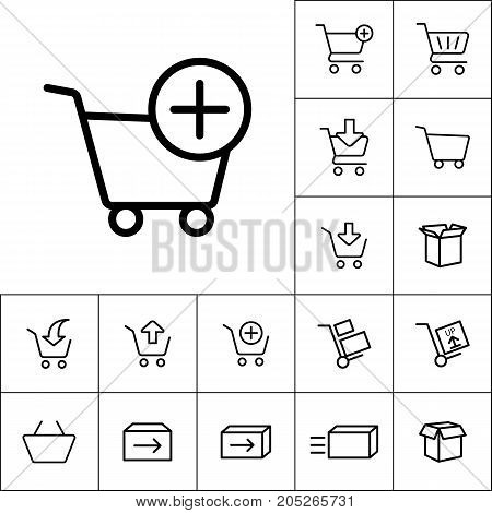 Thin Line Supermarket Trolley Add Icon On White Background, Onli