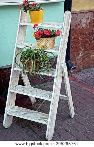 small white wooden staircase with flower pots