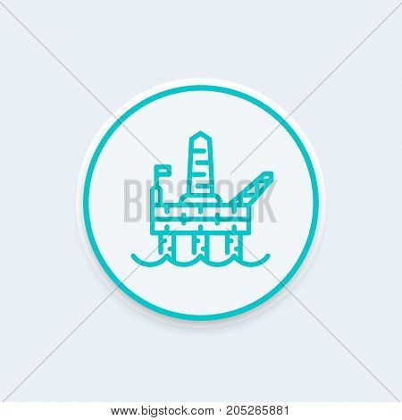 oil drilling platform line icon, offshore oil rig, plant for the extraction of gas linear pictogram, vector illustration