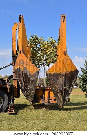 The mounted spade, jaws, and bucket are part of a tree removal  and transplanting machine and is lifting the jaws after dropping the tree into a hole.