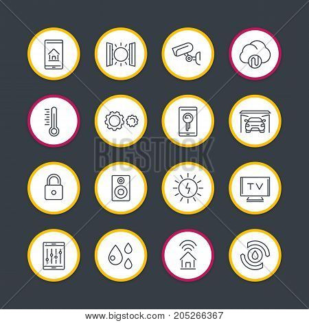 smart house technology system line icons set, home automation control system, smart house round signs, vector illustration