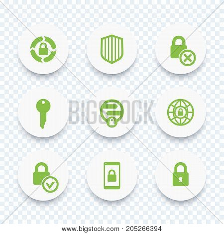 Security icons, secure transaction, online security, key, lock, shield, round isolated icons, vector illustration