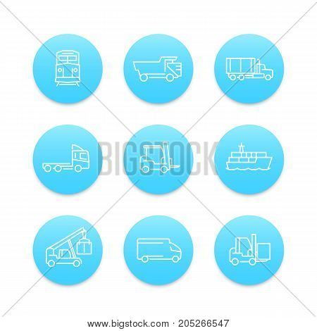 Transportation line icons, forklift, cargo ship, train, cargo truck, transit, transportation linear pictograms, round blue icons on white, vector illustration