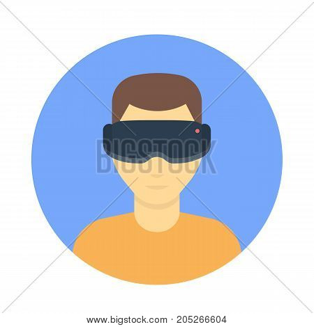 VR glasses, virtual reality headset, cartoon man in virtual reality glasses flat icon, vector illustration