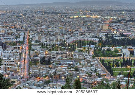Fars Province Shiraz Iran - 18 april 2017: General view from above to the evening city of Shiraz.