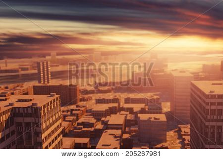 3d rendering of a large city with high buildings in the evening sunshine