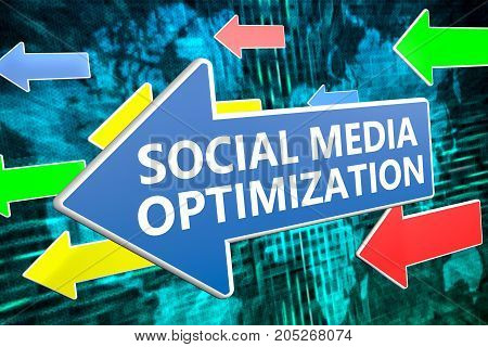 Social Media Optimization - text concept on blue arrow flying over green world map background.
