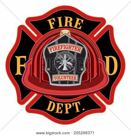 Fire Department Cross Volunteer Red Helmet is an illustration of a fireman or firefighter Maltese cross emblem with a red volunteer firefighter helmet and badge in the foreground. Great for t-shirts, flyers, and websites.