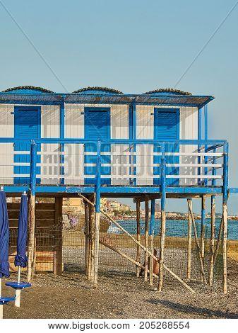 Beach huts in a beach of Salerno. Salerno. Campania Italy.