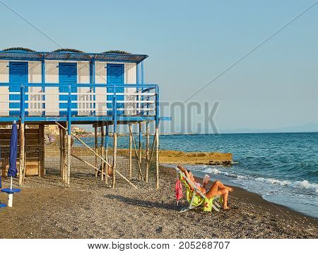 Beach Of Salerno With Beach Huts In Background. Campania, Italy.
