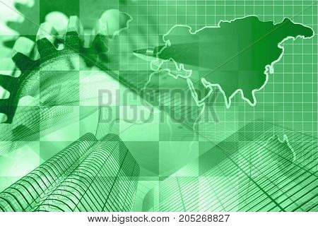 Business background in greens with map gear and pen.