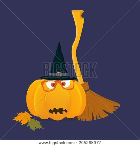 Vector illustration of a bit spooky funny halloween pumpkin with witch besom or broom and with wizard hat on. Great for any Halloween materials as a template. Jack O'lantern.
