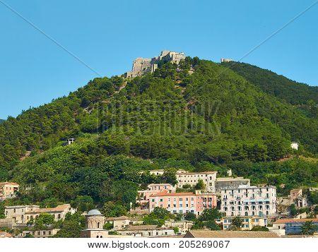 View of Castello di Arechi castle from Salerno. Campania Italy.