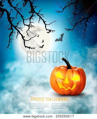 Halloween spooky background with pumpkins . Vector