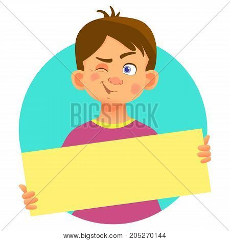 Winking boy holding blank poster. Blank message vector illustration. Hands holding blank paper