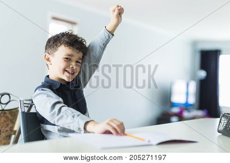 A Cute little boy doing homework at home