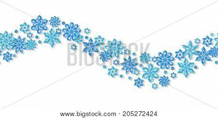 Seamless border snowflakes isolated on white background. Art vector illustration.