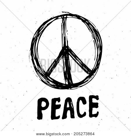 Peace symbol hand drawn grunge Hippie or pacifist sign vector illustration isolated on white background .