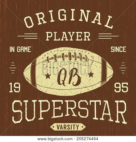 T-shirt design Football quarterback superstar typography graphics vector illustration .