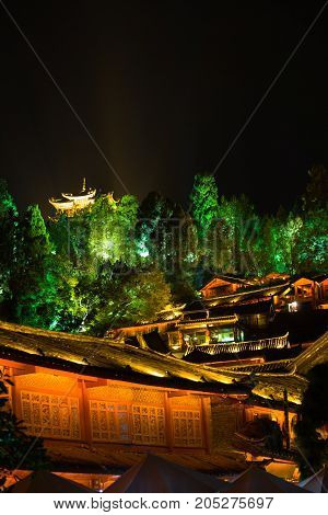 Lijiang Lighted Old Town Pagoda View Night V