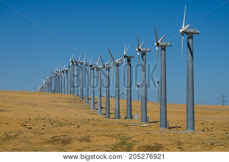 Wind turbines on hillside in northern California