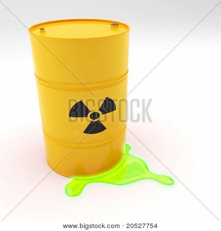 Steel 55 Gallon Drum Radiation Symbol Leaking