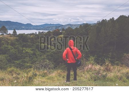 man standing on hill looking at the lake toba