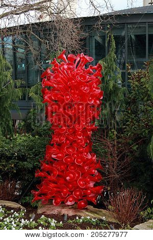 Seattle, Washington - September 5, 2015:  Blown glass in abstract shapes in Chihuly Garden and Glass Museum in Seattle, Washington