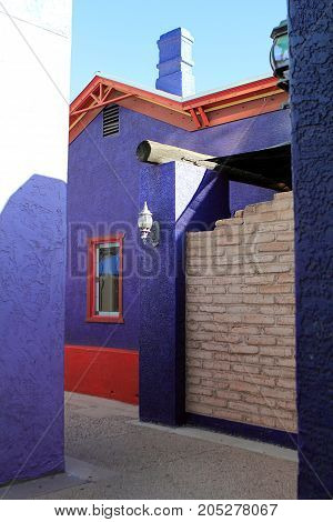 Colorful Adobe House in Historic District of Downtown Tucson Arizona