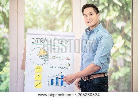 Young asian entrepreneur brainstorm and discuss for marketing plan with his marketing team at home office.Conceptual for startup small businesses entrepreneur and freelance.