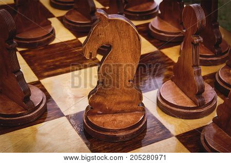 Chess Board With Large Wooden Pieces Of Chess.