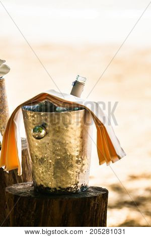 Champagne bottle in ice bucket  for  wedding  ceremony.