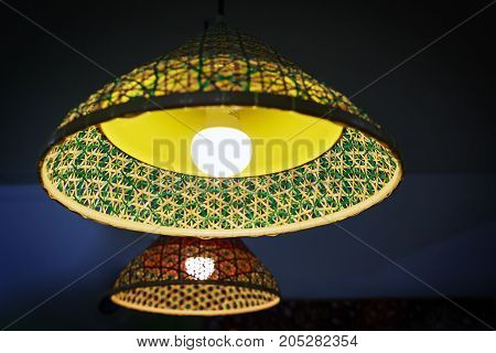 LED lamp with bamboo cap at coffee shop Thailand