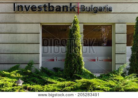 POMORIE BULGARIA - AUGUST 18 2017: The office of one of the top banks in Bulgaria - Investbank.
