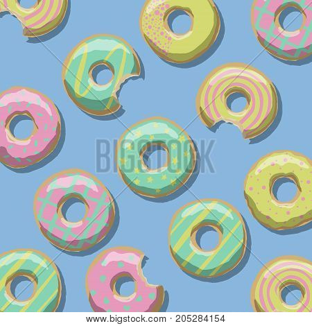 Illustration of sweet brightly colored donuts of yellow pink and green on a blue background