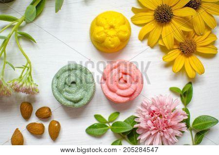Ecological body care. Natural cosmetics - hard shampoo