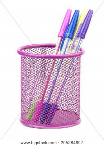 gel pens in metal pot isolated on white