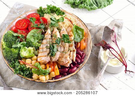 Healthy Bowl With Grilled Chicken